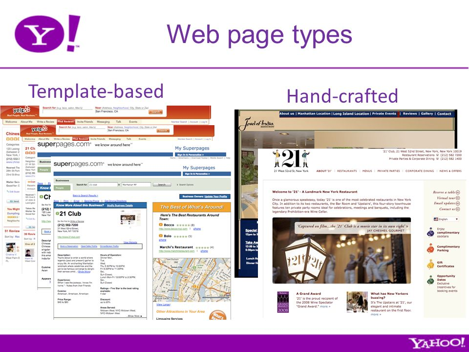Web page types Template-based Hand-crafted