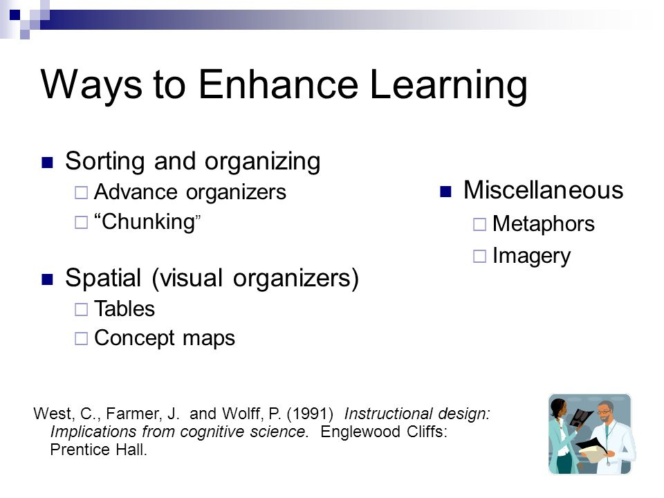 Ways to Enhance Learning Miscellaneous Metaphors Imagery West, C., Farmer, J.