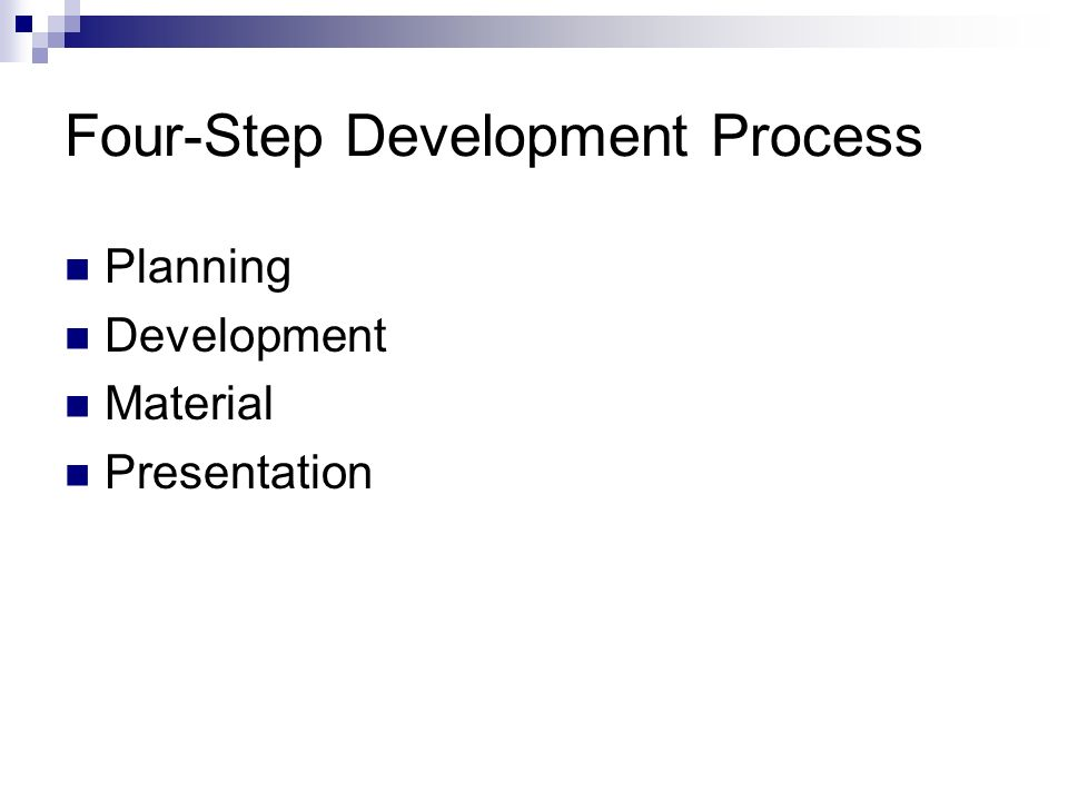 Four-Step Development Process Planning Development Material Presentation