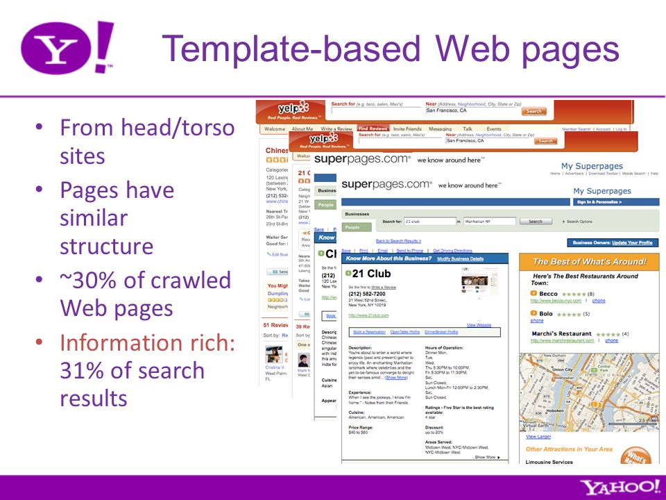 Template-based Web pages From head/torso sites Pages have similar structure ~30% of crawled Web pages Information rich: 31% of search results