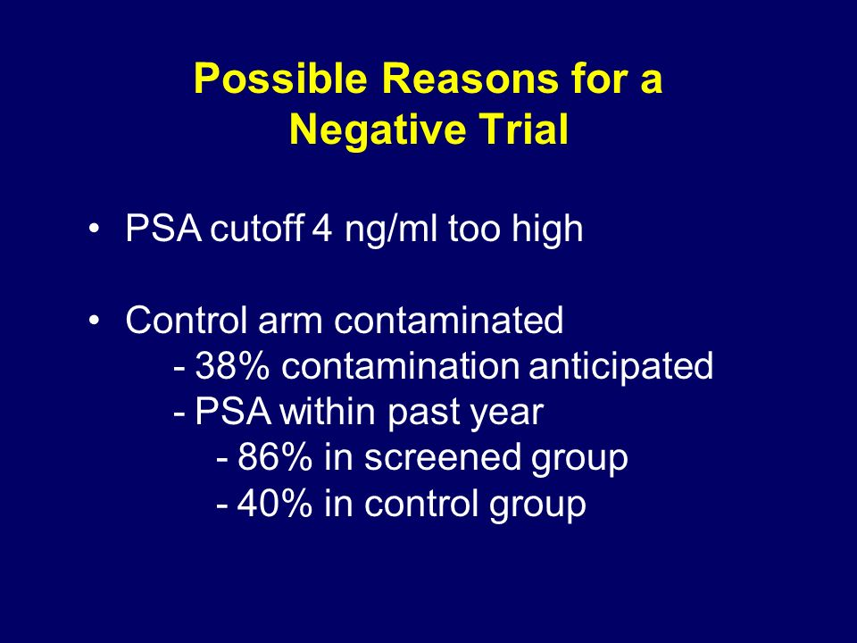 Possible Reasons for a Negative Trial PSA cutoff 4 ng/ml too high Control arm contaminated -38% contamination anticipated -PSA within past year -86% in screened group -40% in control group