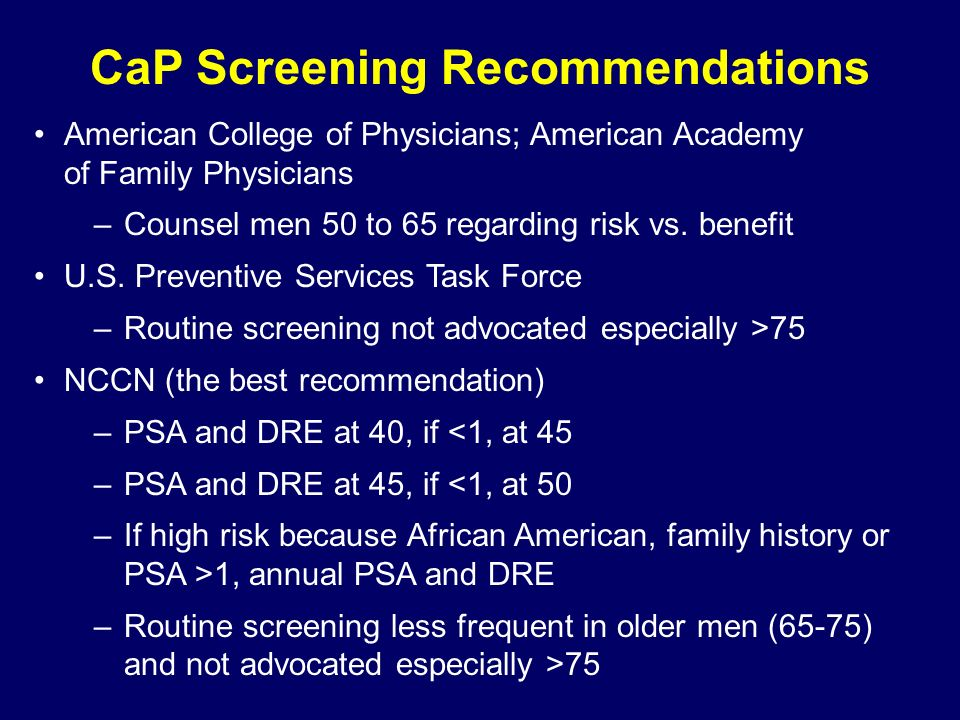 CaP Screening Recommendations American College of Physicians; American Academy of Family Physicians –Counsel men 50 to 65 regarding risk vs.