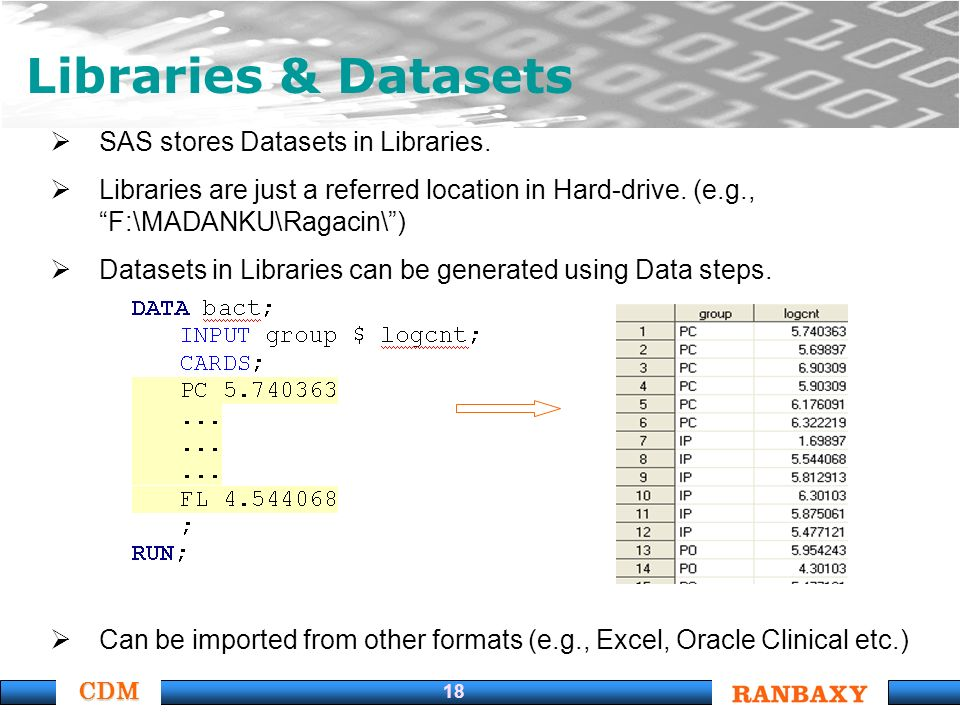 CDM 18 Libraries & Datasets SAS stores Datasets in Libraries.