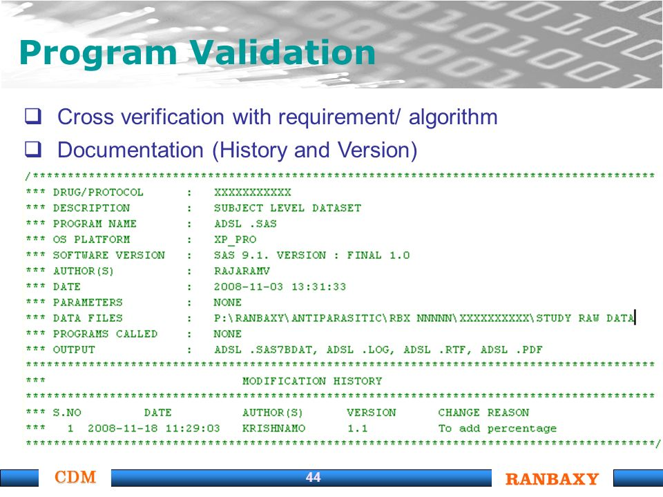 CDM 44 Program Validation Cross verification with requirement/ algorithm Documentation (History and Version)