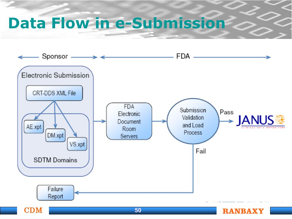 CDM 50 Data Flow in e-Submission