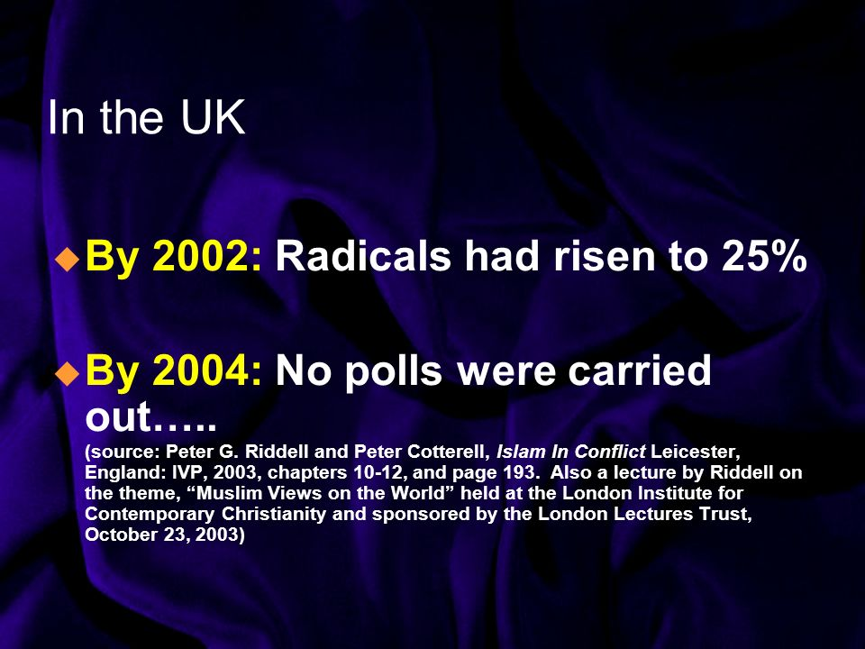 In the UK By 2002: Radicals had risen to 25% By 2004: No polls were carried out…..