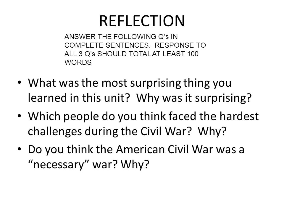 REFLECTION What was the most surprising thing you learned in this unit.