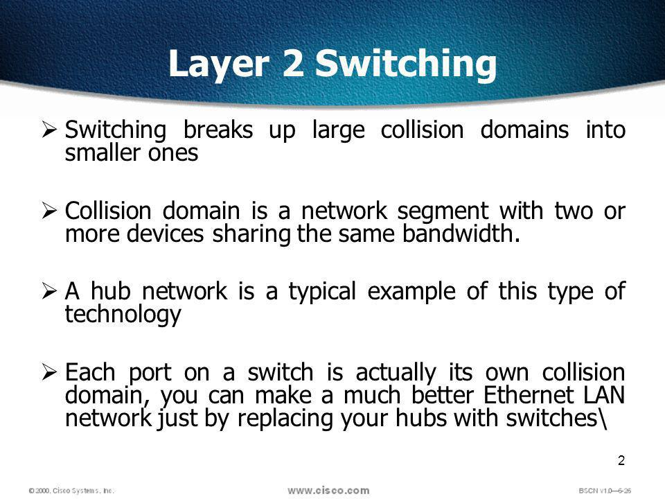 2 Layer 2 Switching Switching breaks up large collision domains into smaller ones Collision domain is a network segment with two or more devices sharing the same bandwidth.