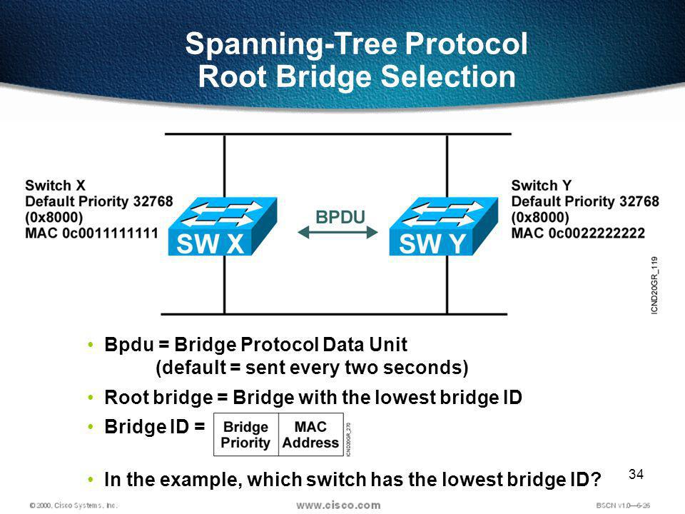 34 Bpdu = Bridge Protocol Data Unit (default = sent every two seconds) Root bridge = Bridge with the lowest bridge ID Bridge ID = In the example, which switch has the lowest bridge ID.
