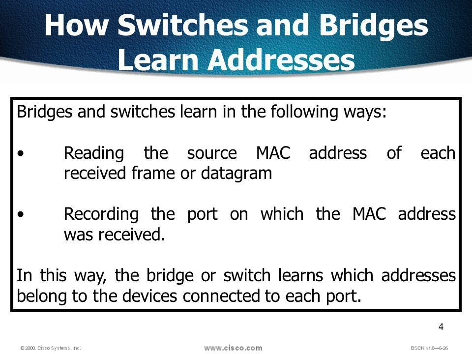 4 How Switches and Bridges Learn Addresses Bridges and switches learn in the following ways: Reading the source MAC address of each received frame or datagram Recording the port on which the MAC address was received.