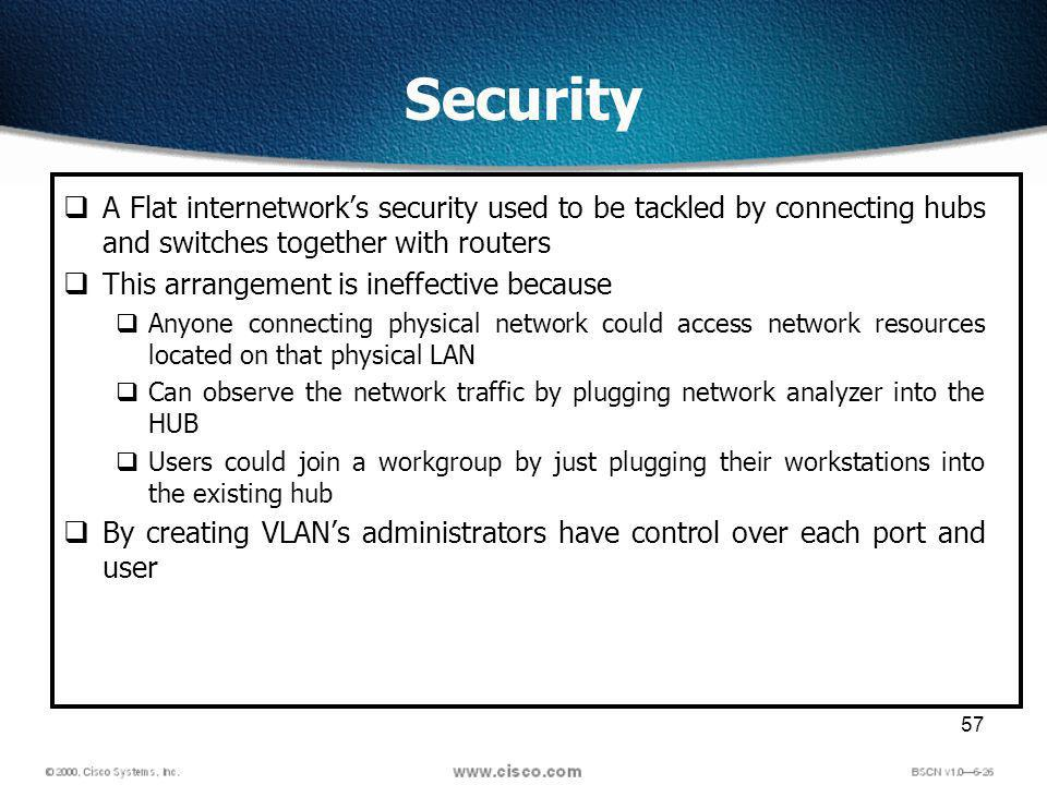 57 Security A Flat internetworks security used to be tackled by connecting hubs and switches together with routers This arrangement is ineffective because Anyone connecting physical network could access network resources located on that physical LAN Can observe the network traffic by plugging network analyzer into the HUB Users could join a workgroup by just plugging their workstations into the existing hub By creating VLANs administrators have control over each port and user