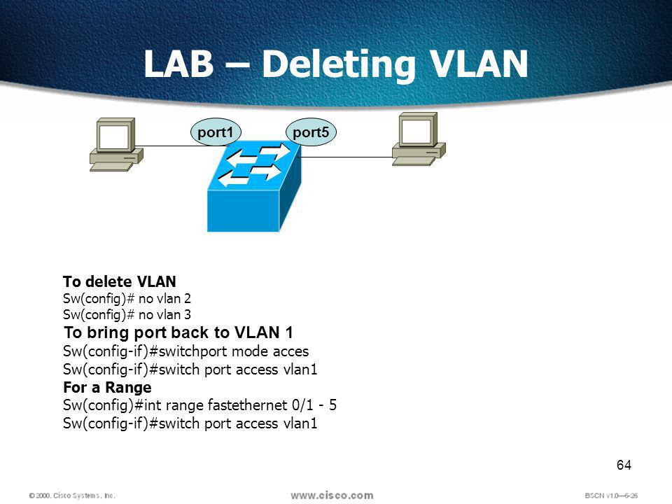 64 LAB – Deleting VLAN port1port5 To delete VLAN Sw(config)# no vlan 2 Sw(config)# no vlan 3 To bring port back to VLAN 1 Sw(config-if)#switchport mode acces Sw(config-if)#switch port access vlan1 For a Range Sw(config)#int range fastethernet 0/1 - 5 Sw(config-if)#switch port access vlan1