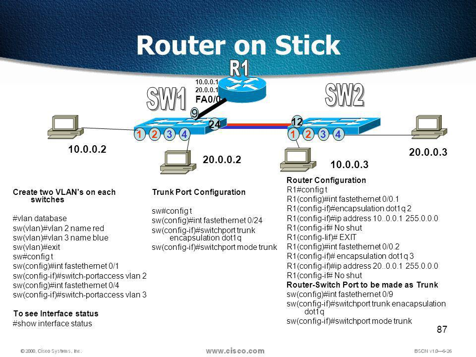 87 Router on Stick 10.0.0.3 20.0.0.3 12341234 10.0.0.2 20.0.0.2 24 12 Create two VLAN s on each switches #vlan database sw(vlan)#vlan 2 name red sw(vlan)#vlan 3 name blue sw(vlan)#exit sw#config t sw(config)#int fastethernet 0/1 sw(config-if)#switch-portaccess vlan 2 sw(config)#int fastethernet 0/4 sw(config-if)#switch-portaccess vlan 3 To see Interface status #show interface status Trunk Port Configuration sw#config t sw(config)#int fastethernet 0/24 sw(config-if)#switchport trunk encapsulation dot1q sw(config-if)#switchport mode trunk Router Configuration R1#config t R1(config)#int fastethernet 0/0.1 R1(config-if)#encapsulation dot1q 2 R1(config-if)#ip address 10..0.0.1 255.0.0.0 R1(config-if# No shut R1(config-Iif)# EXIT R1(config)#int fastethernet 0/0.2 R1(config-if)# encapsulation dot1q 3 R1(config-if)#ip address 20..0.0.1 255.0.0.0 R1(config-if# No shut Router-Switch Port to be made as Trunk sw(config)#int fastethernet 0/9 sw(config-if)#switchport trunk enacapsulation dot1q sw(config-if)#switchport mode trunk 10.0.0.1 20.0.0.1 FA0/0 9