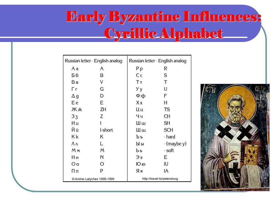 Early Byzantine Influences: Cyrillic Alphabet