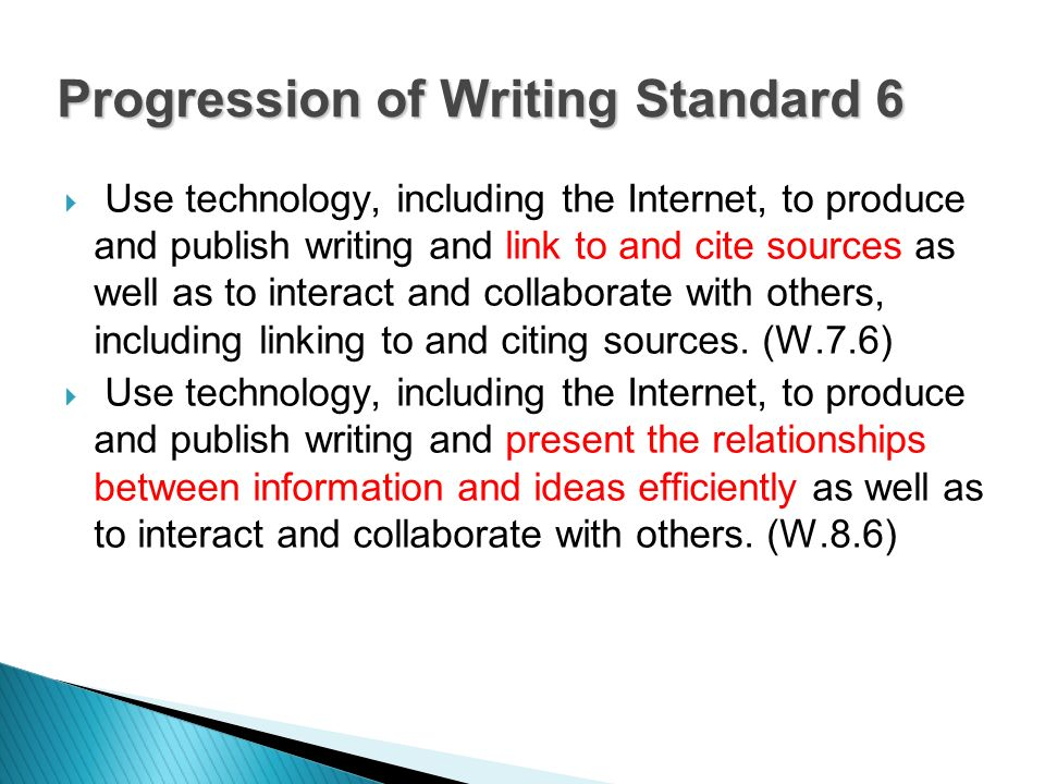 Use technology, including the Internet, to produce and publish writing and link to and cite sources as well as to interact and collaborate with others, including linking to and citing sources.