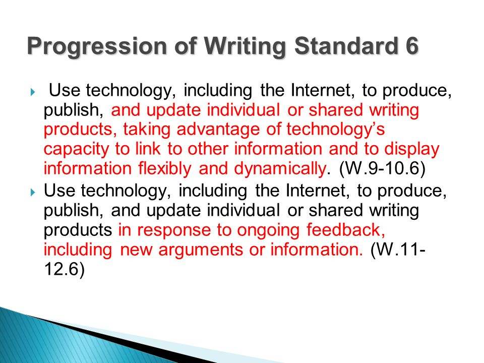 Use technology, including the Internet, to produce, publish, and update individual or shared writing products, taking advantage of technologys capacity to link to other information and to display information flexibly and dynamically.
