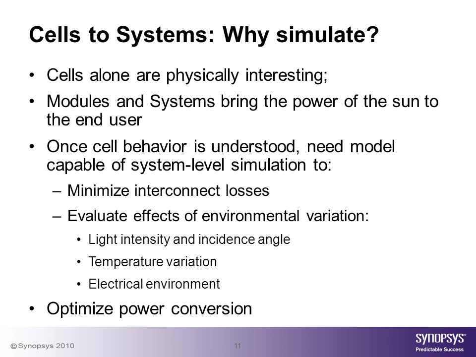 11 Cells to Systems: Why simulate.