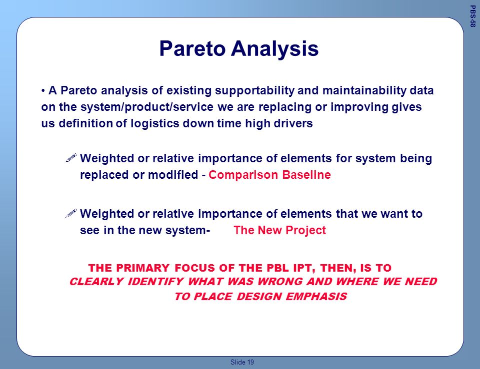 Slide 18 IPT must determine Performance Metrics Evaluate existing and potential system/product option operation at intended level, i.e., whats wrong and how to improve performance.