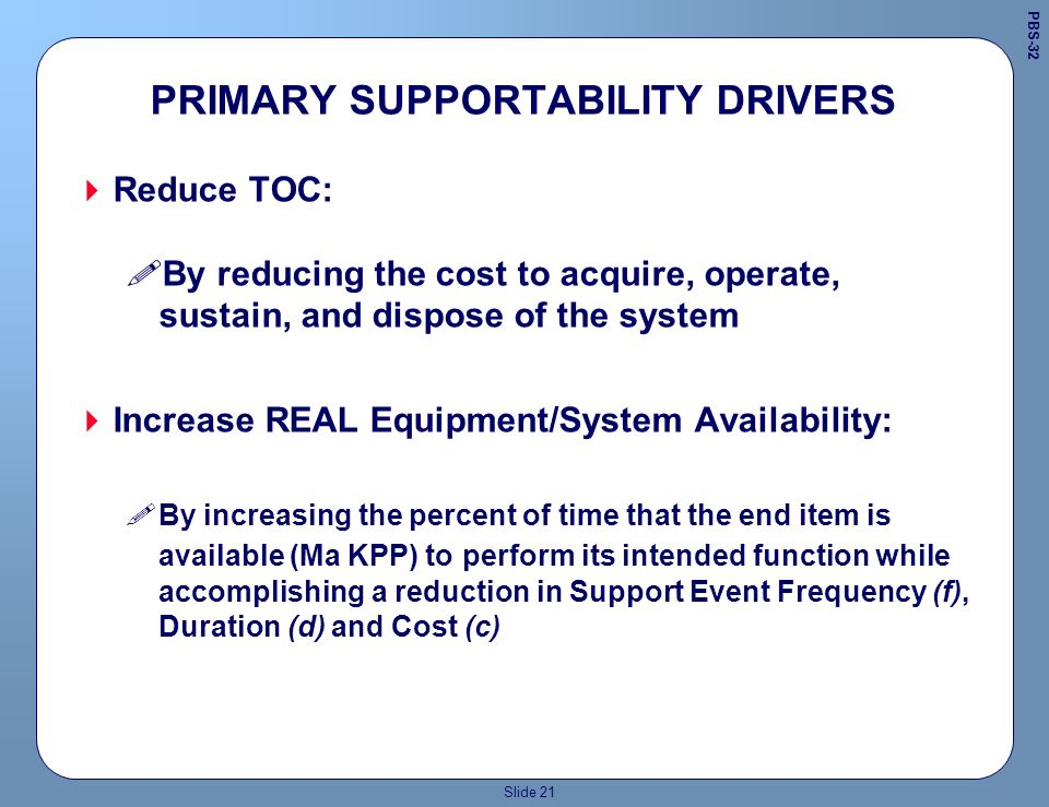 Slide 20 Performance Requirement Sample Old design criteria resulted in removal and replacement of an aircraft break assembly to take 18 hours to accomplish.