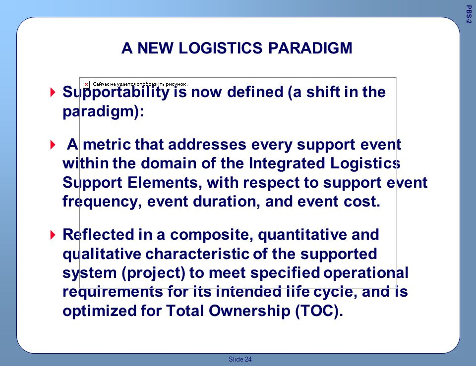 Slide 23 SYSTEMS ENGINEERING APPROACH 1 Requirements Definition Product Production Support System Production Product Design Support System Design Design in Criteria ProductSupport Performance Metrics ProductSupport Evaluation & Improvement ProductSupport Customer Needs 2 3 5 4 6 Supportability and Producibility are designed in, not analyzed in.