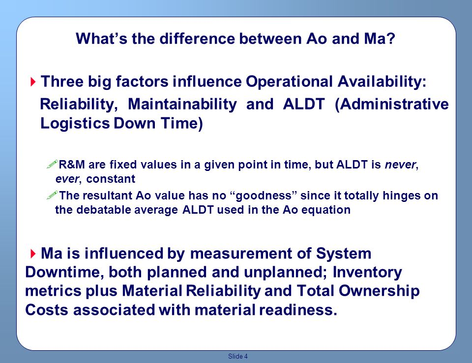 Slide 3 Ao addressed R&M and ALDT, and really equates to peacetime as opposed to wartime The Ao is typically calculated annually and reflects an average or specifically, a snap shot in time….because the math is so simple it does not address the dynamics of varying operational tempos or operations As a support planning baseline, it has been used in that context for eons…its been a comfort zone that if the Ao is good then everything is fine….but so much is missing in the equation that it actually ADVERSELY affects war fighting capability….