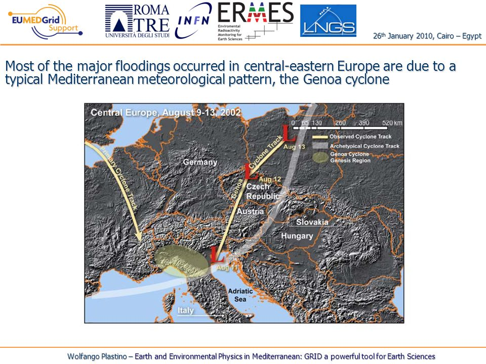 Wolfango Plastino – Earth and Environmental Physics in Mediterranean: GRID a powerful tool for Earth Sciences 26 th January 2010, Cairo – Egypt Most of the major floodings occurred in central-eastern Europe are due to a typical Mediterranean meteorological pattern, the Genoa cyclone