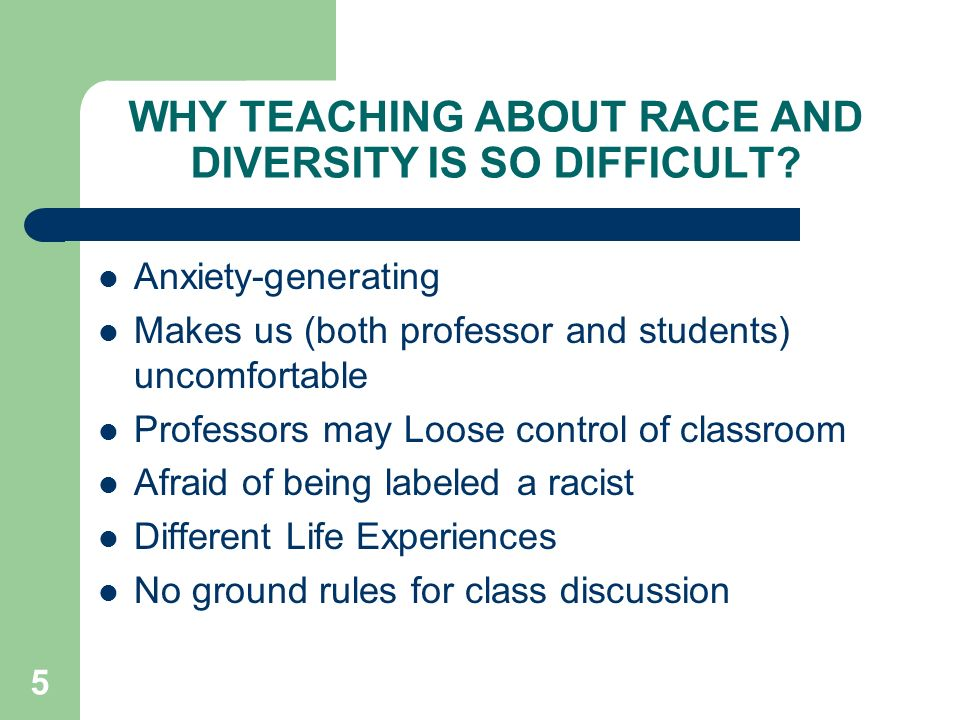 WHY TEACHING ABOUT RACE AND DIVERSITY IS SO DIFFICULT.