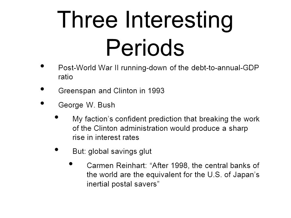 Three Interesting Periods Post-World War II running-down of the debt-to-annual-GDP ratio Greenspan and Clinton in 1993 George W.