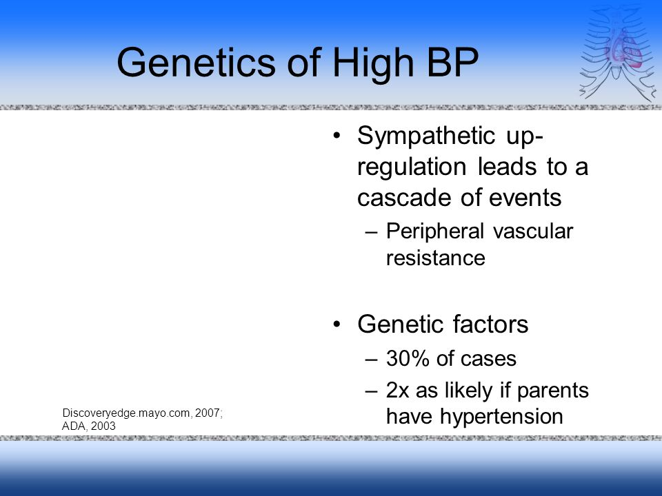 Genetics of High BP Sympathetic up- regulation leads to a cascade of events –Peripheral vascular resistance Genetic factors –30% of cases –2x as likely if parents have hypertension Discoveryedge.mayo.com, 2007; ADA, 2003