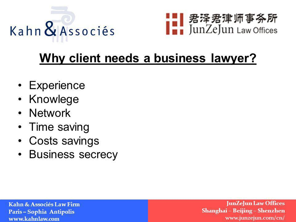 Why client needs a business lawyer.