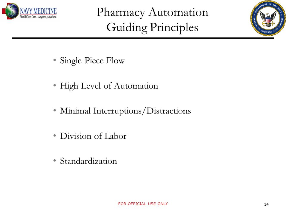 Pharmacy Automation Guiding Principles Single Piece Flow High Level of Automation Minimal Interruptions/Distractions Division of Labor Standardization FOR OFFICIAL USE ONLY 14