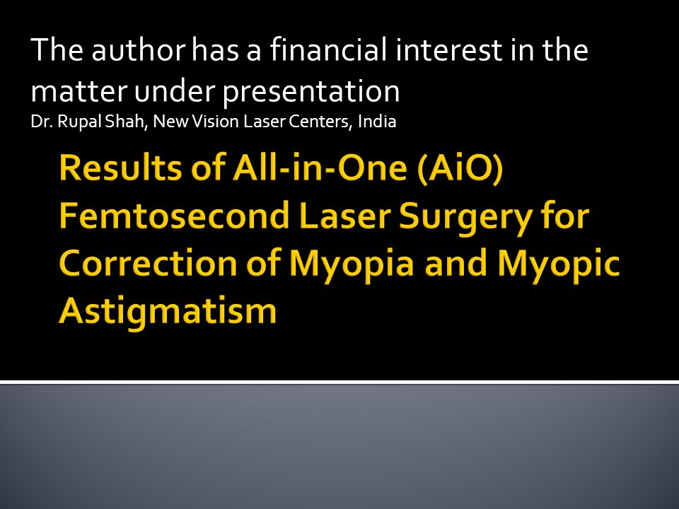 The author has a financial interest in the matter under presentation Dr.