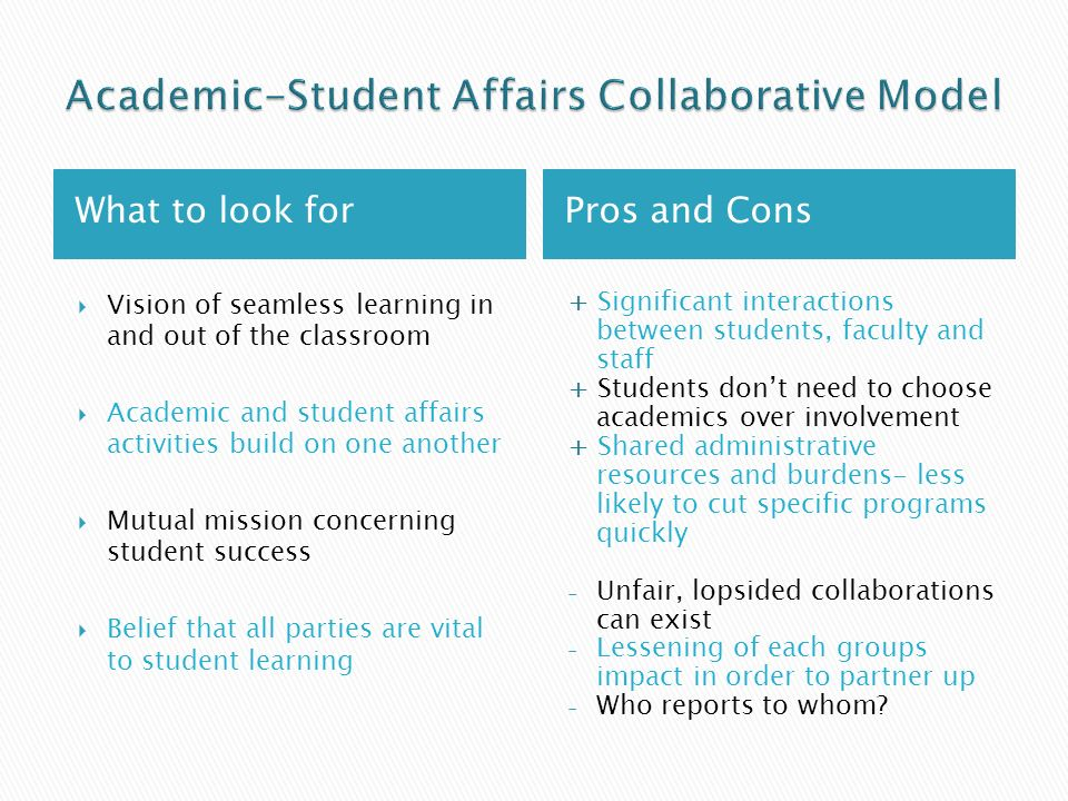 What to look forPros and Cons Vision of seamless learning in and out of the classroom Academic and student affairs activities build on one another Mutual mission concerning student success Belief that all parties are vital to student learning + Significant interactions between students, faculty and staff + Students dont need to choose academics over involvement + Shared administrative resources and burdens- less likely to cut specific programs quickly - Unfair, lopsided collaborations can exist - Lessening of each groups impact in order to partner up - Who reports to whom