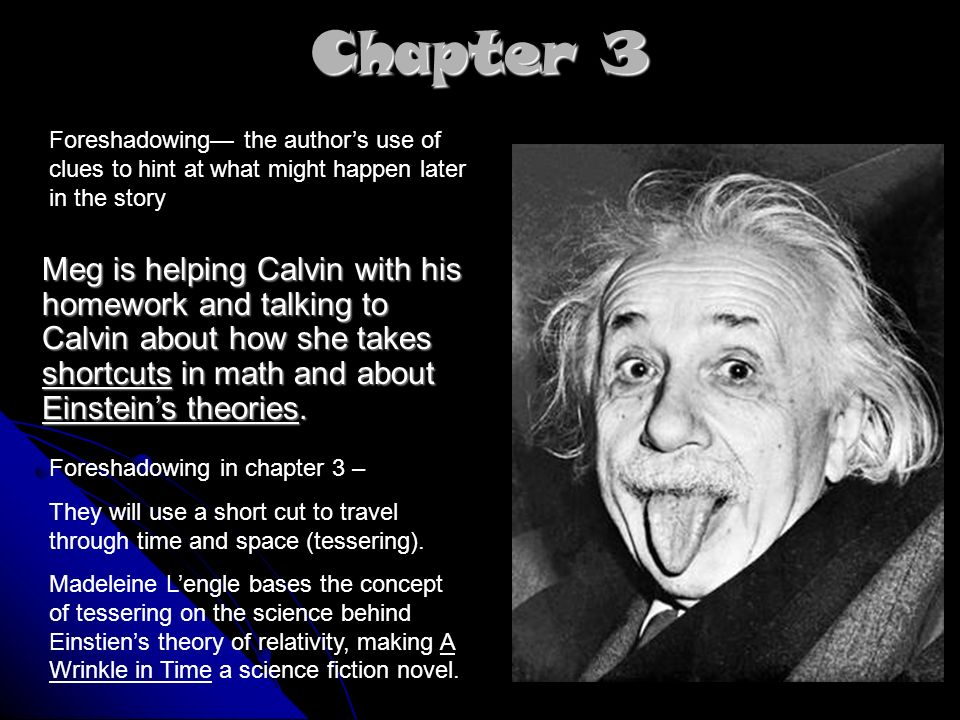 Chapter 3 Meg is helping Calvin with his homework and talking to Calvin about how she takes shortcuts in math and about Einsteins theories.
