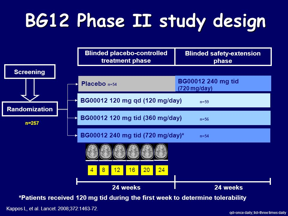 BG12 Phase II study design Screening Placebo n=54 BG00012 120 mg tid (360 mg/day) Blinded placebo-controlled treatment phase Blinded safety-extension phase 24 weeks BG00012 120 mg qd (120 mg/day) BG00012 240 mg tid (720 mg/day)* Randomization BG00012 240 mg tid (720 mg/day) *Patients received 120 mg tid during the first week to determine tolerability 4812162024 qd=once daily; tid=three times daily n=59 n=257 n=56 n=54 Kappos L, et al.