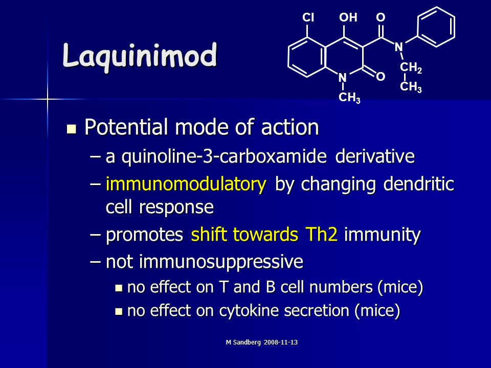 M Sandberg 2008-11-13 Laquinimod Potential mode of action Potential mode of action –a quinoline-3-carboxamide derivative –immunomodulatory by changing dendritic cell response –promotes shift towards Th2 immunity –not immunosuppressive no effect on T and B cell numbers (mice) no effect on T and B cell numbers (mice) no effect on cytokine secretion (mice) no effect on cytokine secretion (mice) CIOHO O CH 3 CH 2 N N CH 3