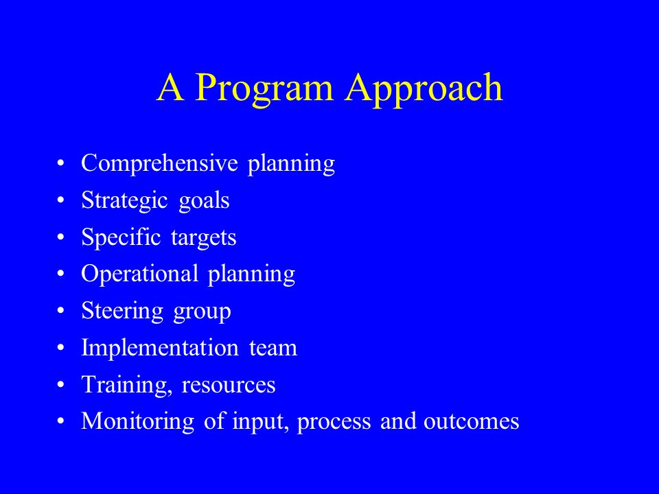 A Program Approach Comprehensive planning Strategic goals Specific targets Operational planning Steering group Implementation team Training, resources Monitoring of input, process and outcomes