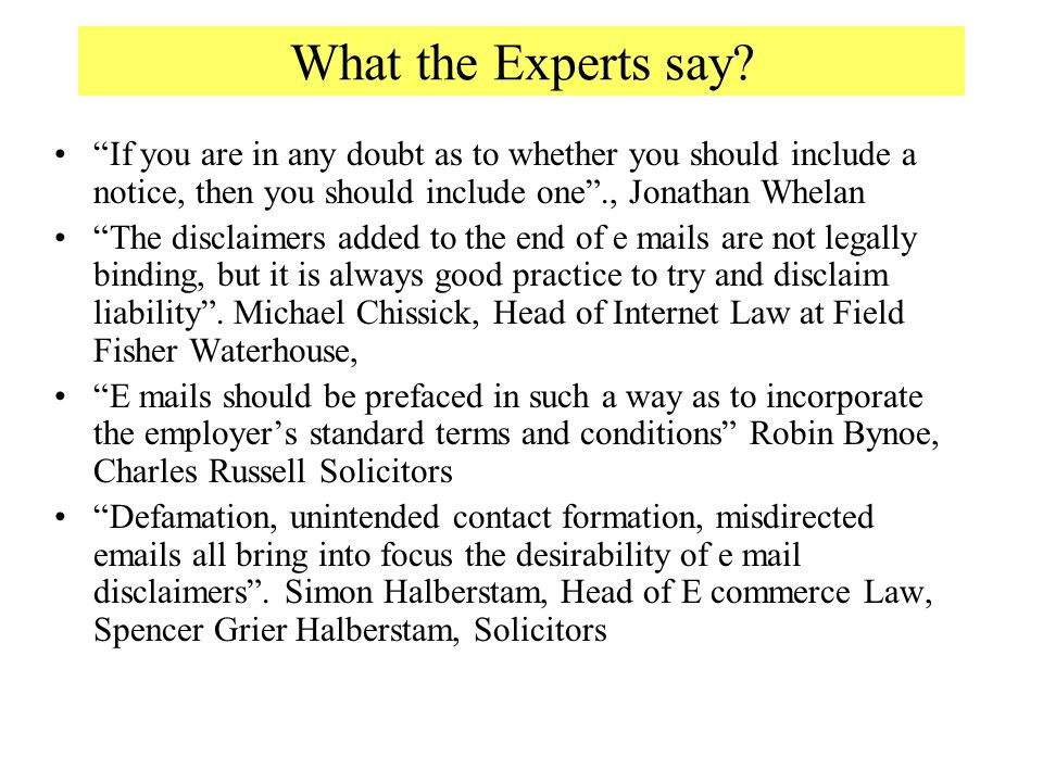 What the Experts say.