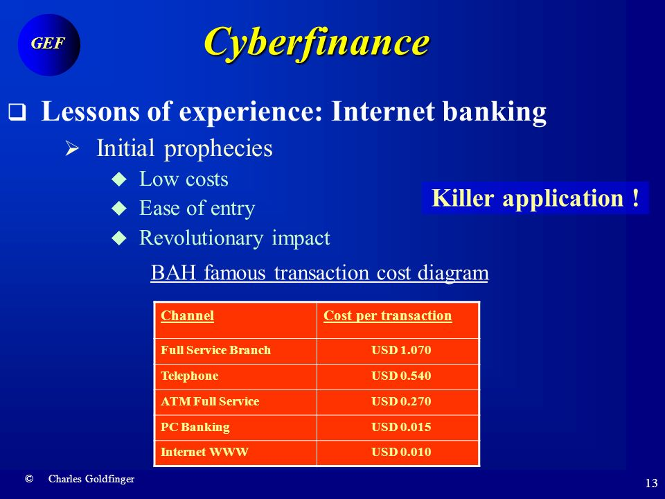 © Charles Goldfinger GEF 12 Cyberfinance Preliminary lessons of experience E-finance is only beginning Blurring boundaries Finance Technology Information Transaction Financial institutions Technology providers Key role of incumbents « Click and mortar » model dominant All finance is becoming cyberfinance