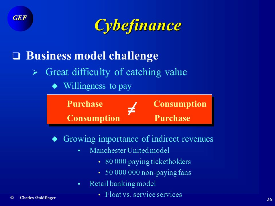 © Charles Goldfinger GEF 25 Cyberfinance Customer challenge Aggregation experience to date More developed in US than in Europe Tradition of vertical integration in Europe Challenge of cross-border integration Focus on Information consolidation Technology convergence Not so common standards No customer rush Yoodlee Less than 1 million clients