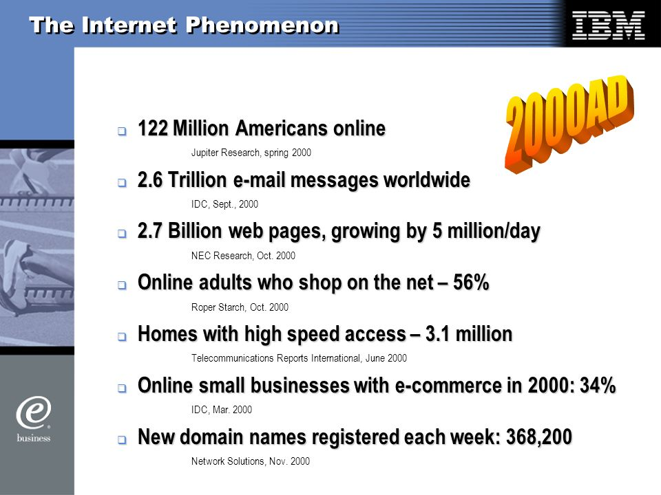 The Internet Phenomenon 122 Million Americans online 122 Million Americans online Jupiter Research, spring Trillion  messages worldwide 2.6 Trillion  messages worldwide IDC, Sept., Billion web pages, growing by 5 million/day 2.7 Billion web pages, growing by 5 million/day NEC Research, Oct.