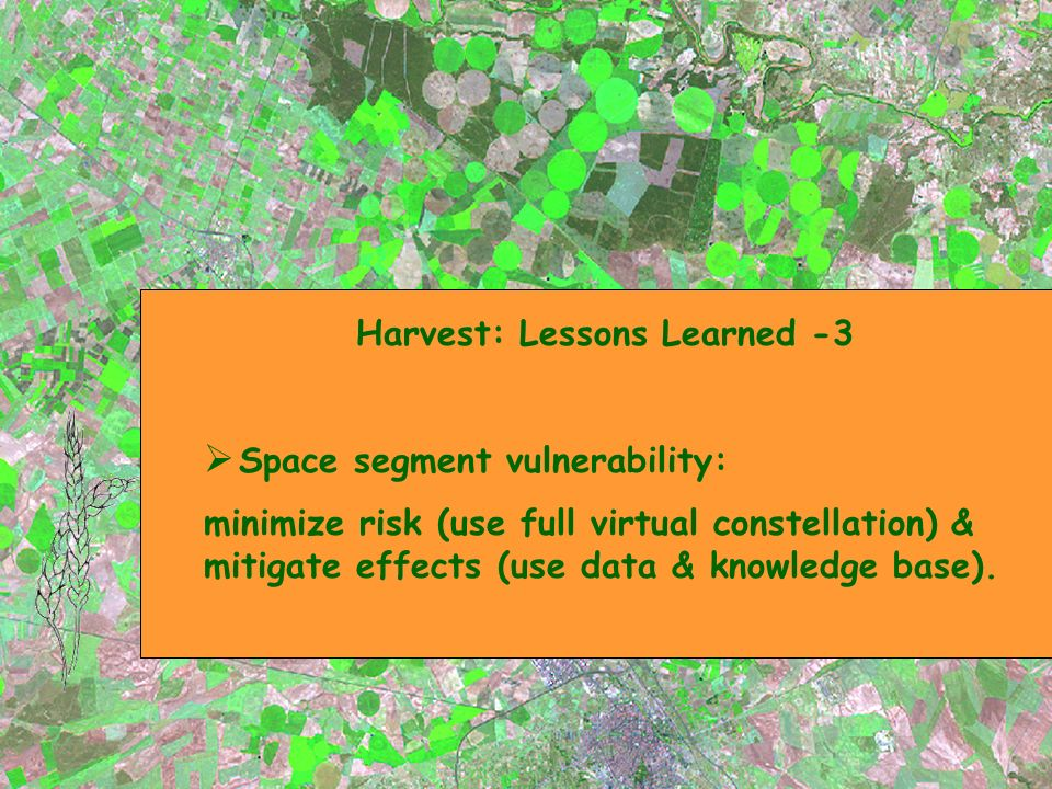 Harvest: Lessons Learned -3 Space segment vulnerability: minimize risk (use full virtual constellation) & mitigate effects (use data & knowledge base).