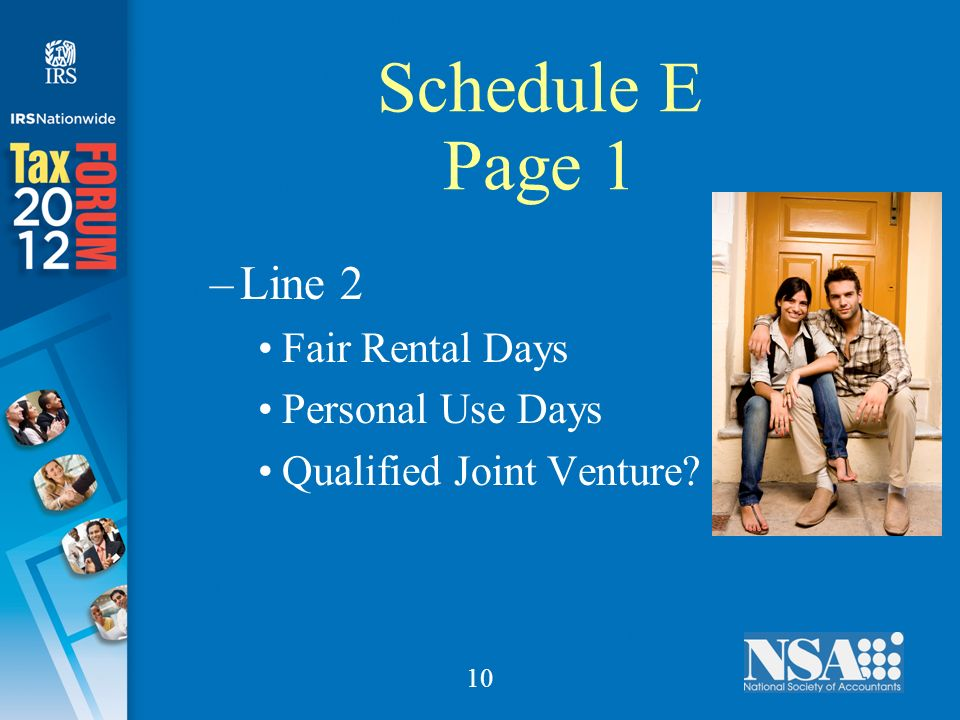 10 Schedule E Page 1 –Line 2 Fair Rental Days Personal Use Days Qualified Joint Venture