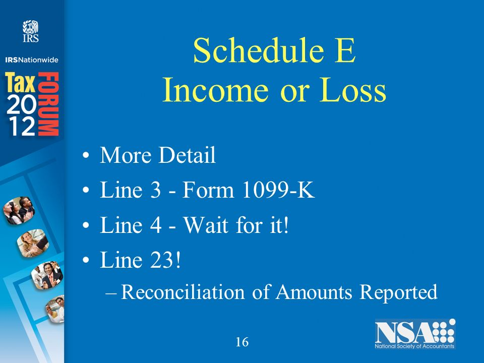 16 Schedule E Income or Loss More Detail Line 3 - Form 1099-K Line 4 - Wait for it.