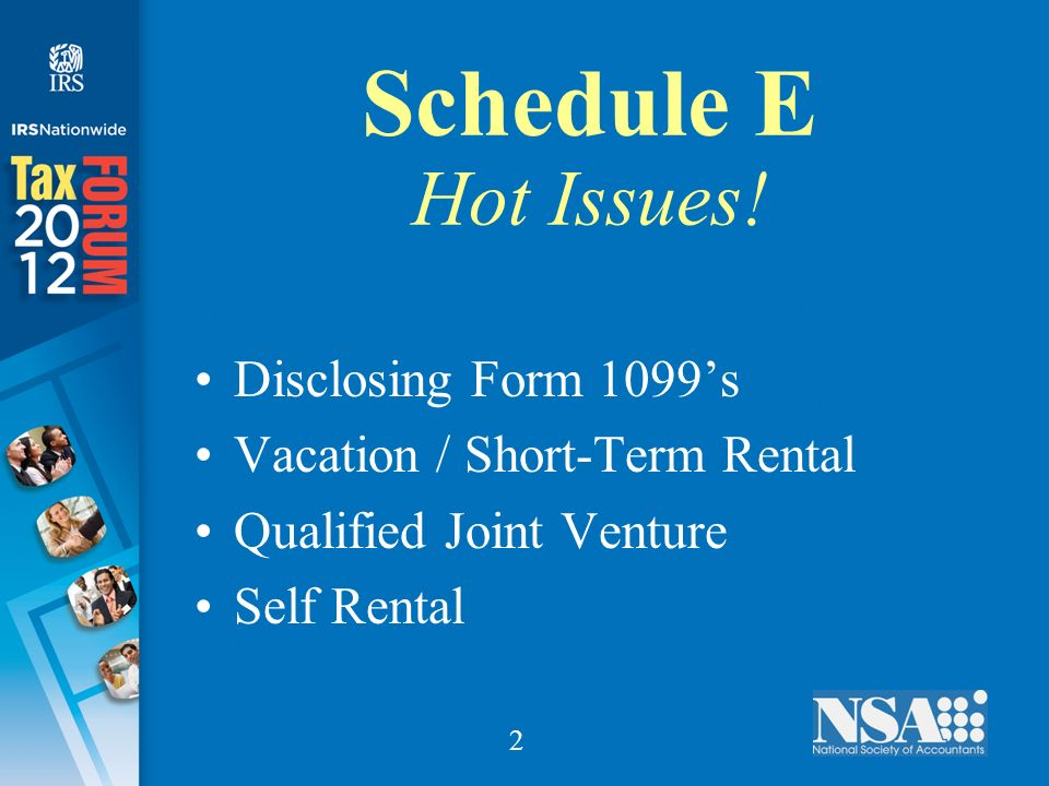 2 Schedule E Hot Issues.