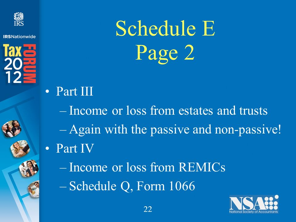 22 Schedule E Page 2 Part III –Income or loss from estates and trusts –Again with the passive and non-passive.