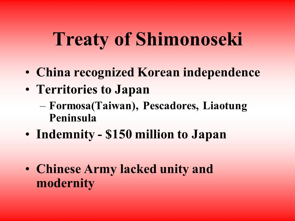 Sino-Japanese War 1894 - 1895 Korea claimed by China Japan wanted privileges escalation to war Japan defeated China 2 nd SJ War 1937 - 45
