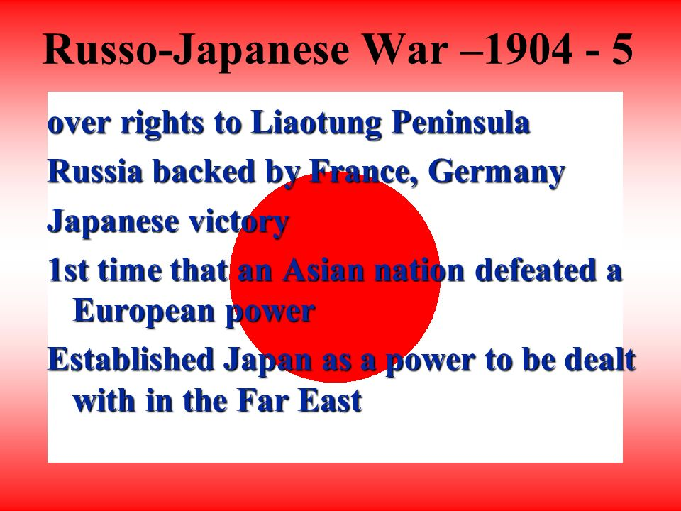 Conflicts with the West Russia wanted Liaotung Peninsula for Trans-Siberian Railroad Joint request for Japanese withdrawal Result - Japan angry/determined to regain influence