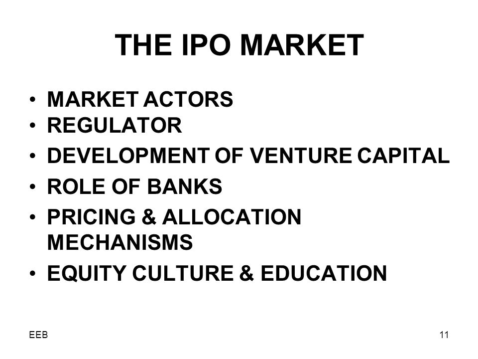 EEB11 THE IPO MARKET MARKET ACTORS REGULATOR DEVELOPMENT OF VENTURE CAPITAL ROLE OF BANKS PRICING & ALLOCATION MECHANISMS EQUITY CULTURE & EDUCATION