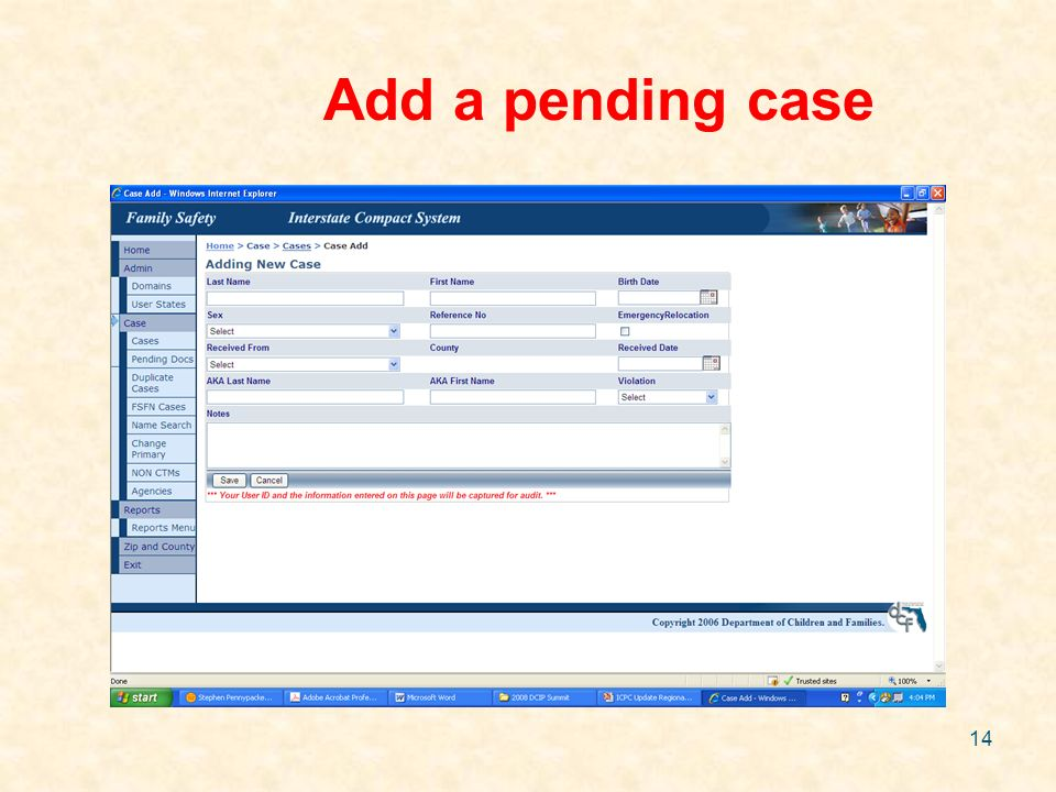 14 Add a pending case